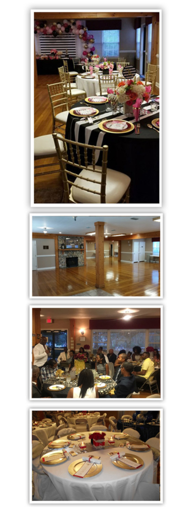 A collage of four photographs showing a table setting, an open floor plan, an event and another table setting, respectively